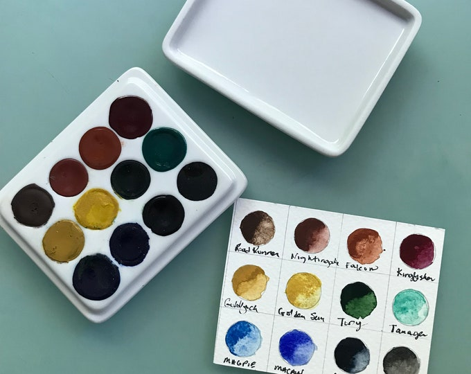 Handmade watercolor paint palette LIMITED edition 12 well hand glazed porcelain