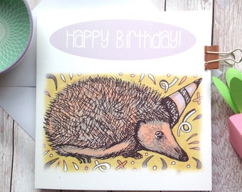 Hedgehog Birthday Card, Woodland Happy Birthday, Hedgehog Lover Card, Best Friend, Coworker Birthday, Cute Children's Card, Wildlife Lovers.