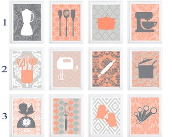 Corals Grey Kitchen Utensils Art Prints -Pick Any (6) Prints, Any Color  home decor patterns- Personalize Colors