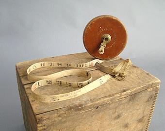 Chesterman Sheffield Cloth Tape Measure, Vintage Tools, Vintage Tape Measure, England, Leather, Measuring Tape, 100 feet, 100ft