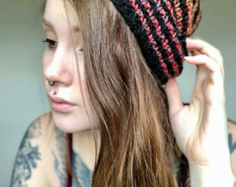 A Basic Beanie for Everyone in Ombre' and Black stripes