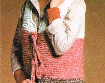 Vintage Women's Crochet Pattern - Color Block Vest - PDF Downloadable - Retro 1970s