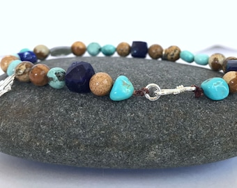 Sleeping Beauty turquoise, jasper, lapis, blue sodalite and sterling silver beaded bracelet