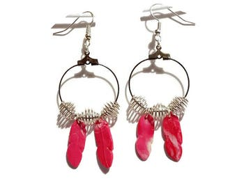 Earrings ear feathers gradient polymer clay roses