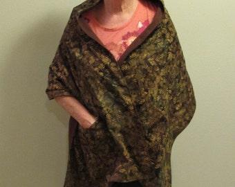 Shawl/Wrap  Batik brown leaves print Free shipping (# 602)