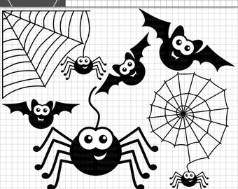 Halloween Clipart, Bats and Spider Clip Art, Commercial Use, Instant Download