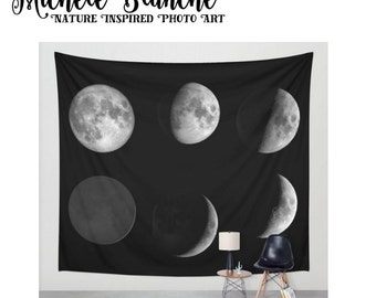 Large Wall Art Tapestry Large Moon Phases banner home decor Lunar Phases Black and White Moons