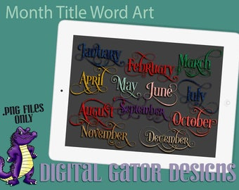 Monthly Title Word Art for Planners and Pages