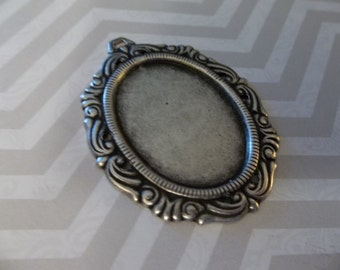 Vintage Inspired 25X18mm Oxidized Silver Plated Brass Swag Design Setting - Qty 2