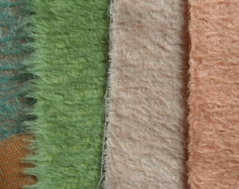 SET 2, 4 pieces of lovely Helmbold mohair with a 12 mm pile. 4 x 1/16 pieces.