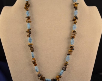 Hand knotted vintage beads necklace with tigers eye chips and vintage glass beads