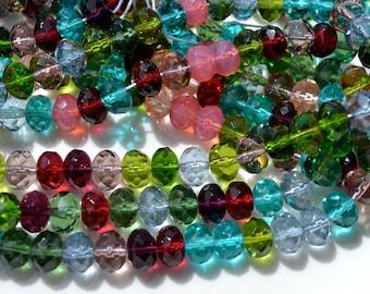 Tourmaline Mix Fire Polish 9x6mm Faceted Czech Glass Beads   25