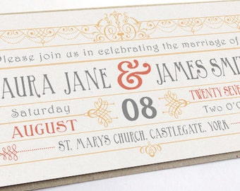 Vintage Art Deco Gatsby Wedding Invitation Ticket SAMPLE
