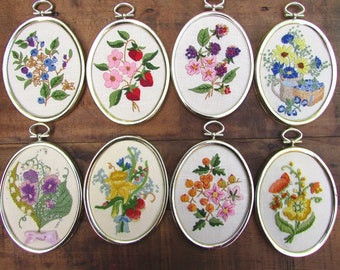 Crewel Embroidery Flowers Framed Vintage Your Choice of ONE