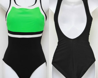 """80's Vintage """"RIA"""" Color Blocked One-Piece Open-Back Swimsuit Sz: 10 (Women's Exclusive)"""