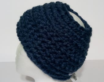Handmade Crocheted Head Wrap with Pony Tail Hole