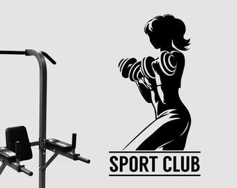 Womens Sport Club Logo Wall Decal Vinyl Window Sticker Art Decorations for Sports Room Gym Bodybuilding Fitness Center Studio Decor fgm22