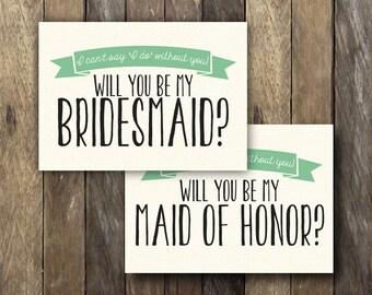 Will You be my Bridesmaid Printable - Green Bridesmaid Card - Bridesmaid Invitation - Instant Download - Maid of Honor - Bridesmaid Card