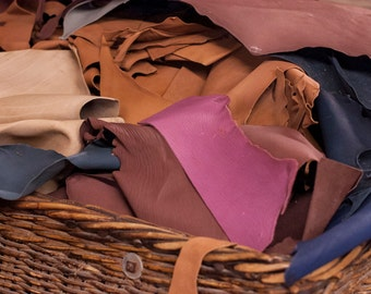 One Pound of Leather Scraps - Vegetable Tanned and Aniline Dyed