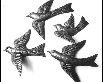 "Metal Wall Art, Flock of 4 Birds, Metal Art, Bird Wall Hanging, Haitian Steel Oil Drum, Metal Wall Decor, Haitian Metal Art - 7"" - B-4-L"