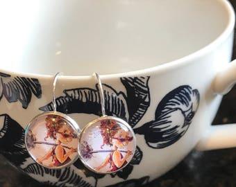 Fancy Nancy cabochon earrings- 16mm