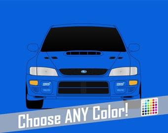 Subaru STI G1 Poster // WRX // Impreza // Colorful Car Posters
