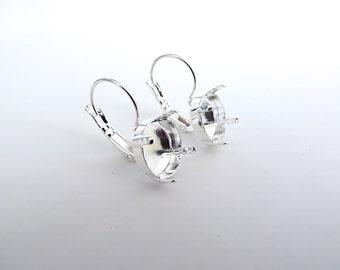 1 Pair Silver Plated Lever Back Earrings for Swarovski 12mm Rivoli 1122