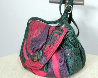 Handbag Vintage NAS Bag 1980's Patchwork Purse Faux Leather Handbag Shoulder Bag