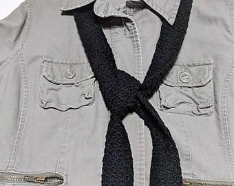 Long Scarf, Black Crochet Scarf, Black Skinny Scarf, Free Shipping