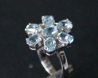 Elegant Blue Topaz Silver Ring