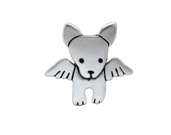 Angel Dog Necklace - Sterling Silver Dog Pendant - Dog With Wings - Memorial Necklace