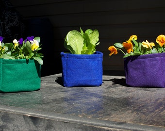 New 5 inch Felt Planter Boxes for Gardening by Urban Greenie in Multiple Colors