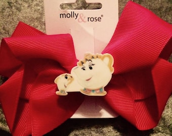 Cute Mrs Potts & Chip Mug Large Clip in Hair Bow