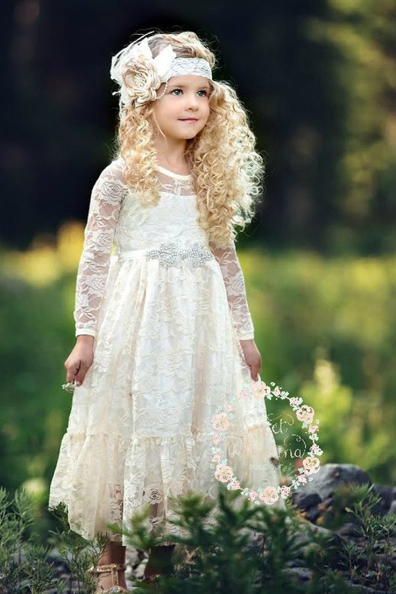 Flower girl dressflower girl dresses flower girl lace flower girl dressflower girl dresses flower girl lace dresses ivory lace dress country rustic flower girl dresslong sleeve lace dress mightylinksfo Images