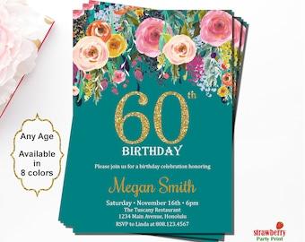60th Birthday Invitations, Surprise 60th Birthday Invitations, Birthday Invitations for Women, Floral Birthday Invitation, Gold Glitter, A15