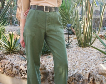 Vintage 26 27 28 29 30 31 32 33 34 Waist 60s 70s OG 107 Olive Green Army Pants | Vietnam Utility Fatigues Military Trouser see SIZE RUN
