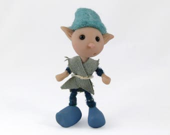 Miniature Pixie Doll, Poseable Elf Doll in Blue, Polymer Clay Boy Doll