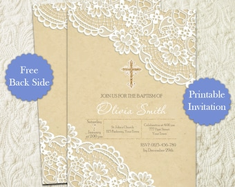 Lace Burlap Baptism Christening Printable Invitation, Lace First Communion Invitation, Lace Religious Invitation, Elegant Baptism Invite