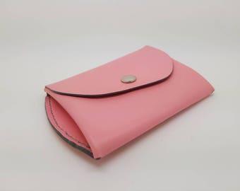 Pink leather coin purse handstitch grey
