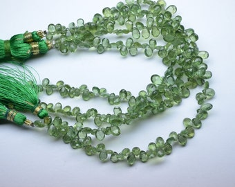 10 Pcs Loose Natural Peridot Apatite Faceted Pear Briolette Beads