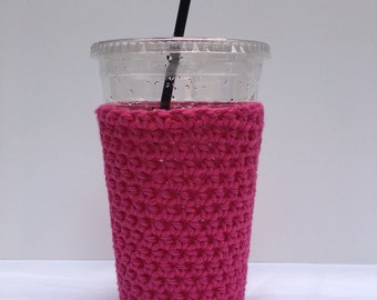 Crochet Iced Coffee Cozy/ iced coffee cozy/ Crochet coffee cozy/ Cotton cup sleeve/ Summer drink cozy/Iced coffee sleeve/Coffee Lover Gifts