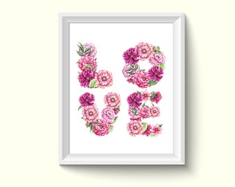 Love Letter Flowers Watercolor Painting Poster Art Print P188