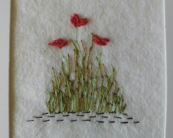 Poppy card/ Embroidered Card / handmade card / Birthday card / Just Because / Any occasion / Mother of the Bride / floral card/