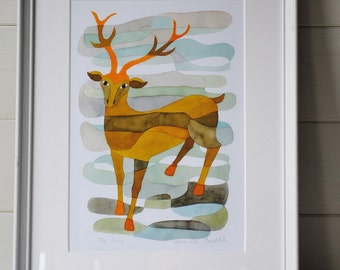 The Stag Mid Century Modern Art Print Mid century Poster orange blue brown 8 x 10