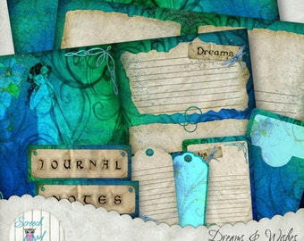 Dream Journal Pages and Cards, Paper Craft Supplies, Printable Stationery, Scrapbook Paper - 'Dreams & Wishes'