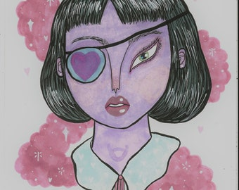 Original Drawing- eyepatch - A4- One of a kind artwork by Naomi Ruth