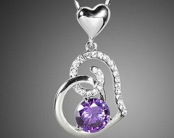 Purple Heart Pendant Chain Necklace