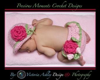 Baby Girl Hat and Diaper Cover SET, Crochet Newborn Baby Photo Prop