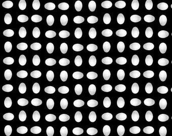 Polka Dot, Egg Dot Fabric - Black Tie Boogie by Sandy Clough for Red Rooster Fabrics 24269 Black -  end of bolt 27 inches