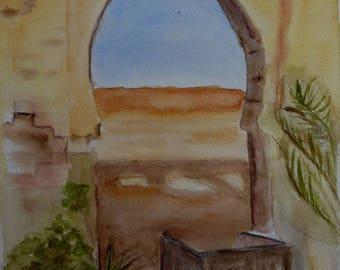 the door of the desert watercolor